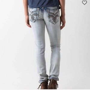 Rock revival straight raven faded preloved jeans